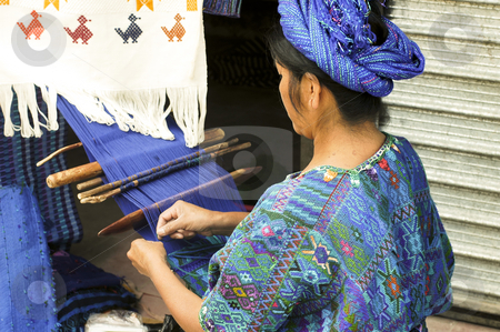 Woman working hand loom stock photo, Lake Atitlan, Guatemala by Michael Cohen