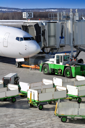 Aircraft prepares for departure stock photo, Aircraft ready for departure at international airport by Fernando Barozza