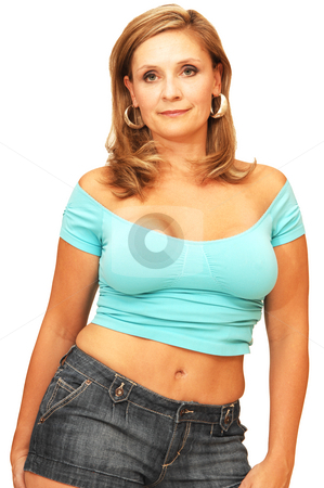 Young woman standing  stock photo, An friendly blond girl in short jeans shorts and turquoise top standing for white background. by Horst Petzold