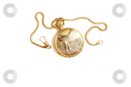 Pocket watch. stock photo, A golden grandfather pocketwach with chain on white background. by Horst Petzold