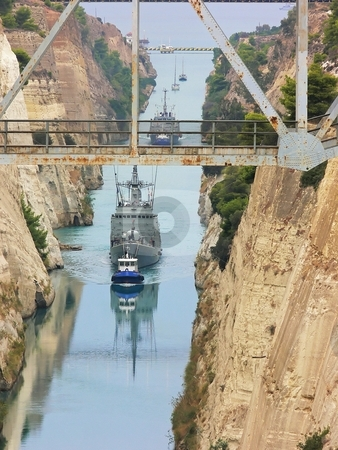 Corinthian canal. stock photo, A man made canal in Corinth, Greece made 1881-1893 by hand with ships on tack boats. by Horst Petzold