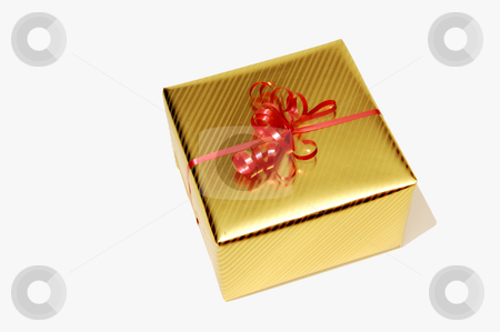Gift box. stock photo, An in gold wrapping paper wrapped gift with a red bow on top. by Horst Petzold