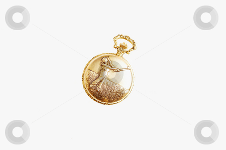 Golden pocket watch. stock photo, An antique golden pocket watch with an golf player engraved on the lid. by Horst Petzold