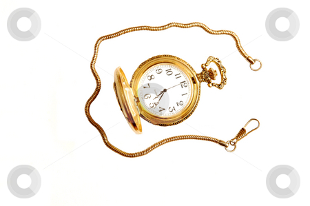 Open pocket watch. stock photo, An antique golden open pocket watch with chain on white background. by Horst Petzold