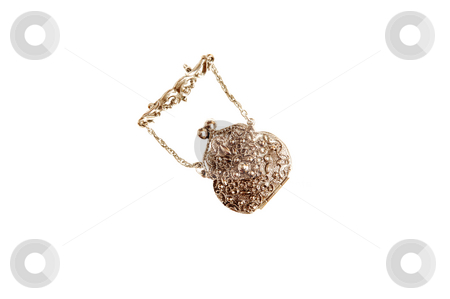 Turkish jewelry. stock photo, A beautiful handmade antique silver money purse whit rich carving  on the lid. by Horst Petzold
