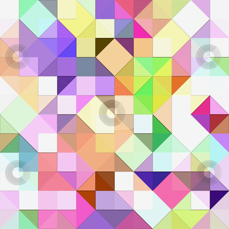 Bright pastel mosaic stock photo, Seamless texture of vibrant triangles and squares by Wino Evertz