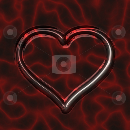 Glassy heart stock photo, Texture of deep red transparent heart on fire background by Wino Evertz