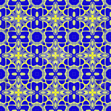 Blue retro pattern stock photo, Seamless texture of abstract repeating yellow star shapes on blue by Wino Evertz