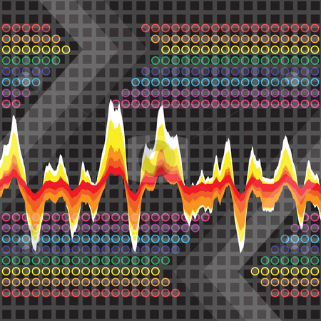 Graphic Audio Waveform stock photo, An audio waveform over a grid background. It also could work as a heartrate monitor. by Todd Arena