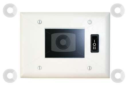 Wall Screen stock photo, Small screen mounted to the wall with switch by Henrik Lehnerer