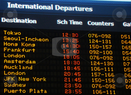 Airport information board stock photo, Airport information board, international departures. by Fernando Barozza