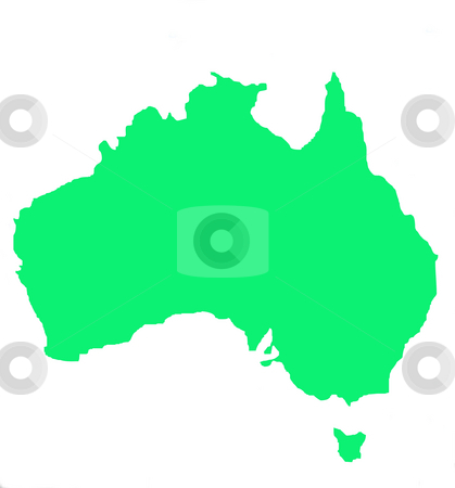 Outline map of Australia and Tasmania stock photo, Outline map of Australia and Tasmania in green, isolated on white background. by Martin Crowdy