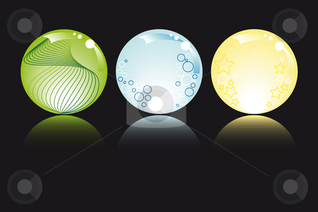 Glowing spheres stock vector clipart, Glowing spheres in pastel colors with stars bubbles and fantasy by Karin Claus