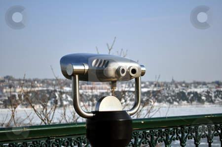 Binocular, observation deck stock photo, Observation deck, shore of Saint Laurent river by Fernando Barozza