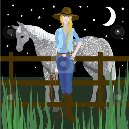 Cowgirl in the Moonlight stock vector clipart, A cowgirl and horse under a starry moonlit sky. by Maggie Bates