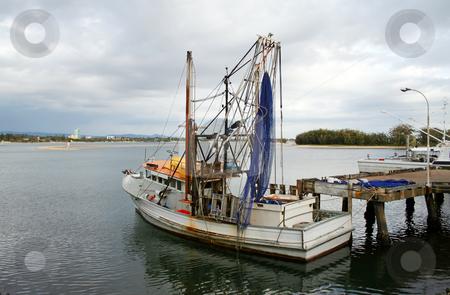 Prawn Trawler stock photo, Prawn trawler sits at dock on an overcast day. by Brett Mulcahy