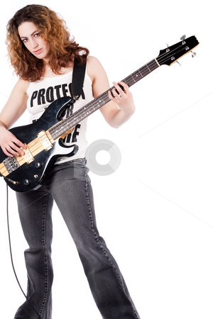 Still rocking girl stock photo, Young female bass guitar player specially isolated on white by Frenk and Danielle Kaufmann