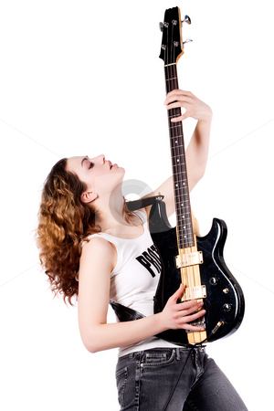 Guitar up stock photo, Young female bass guitar player specially isolated on white by Frenk and Danielle Kaufmann