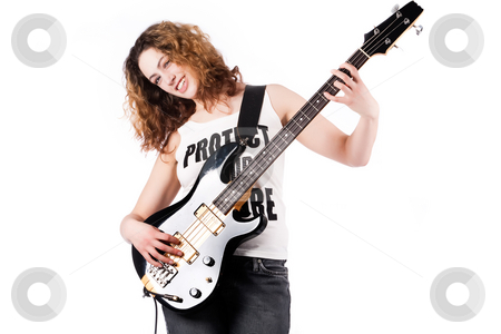 Sweet girl with a guitar stock photo, Young female bass guitar player specially isolated on white by Frenk and Danielle Kaufmann