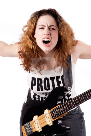 Feeling rockin stock photo, Young female bass guitar player specially isolated on white by Frenk and Danielle Kaufmann