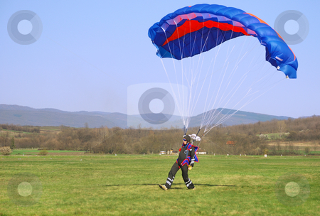 Parachutist landed stock photo, Parachutist landed on a field after good flight. by Ivan Paunovic