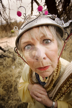 Crazy Woman stock photo, Crazy woman wearing a metal colander for a helmet by Scott Griessel