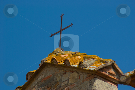 Hausdach mit Kreuz - Roof with cross stock photo, In Miemo by Wolfgang Heidasch