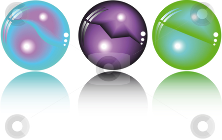 Three fantasy spheres  stock vector clipart, Three fantasy spheres in different colors by Karin Claus