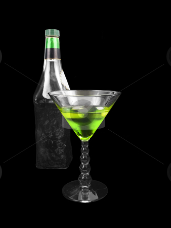 Alcoholic Beverage stock photo, Green Alcoholic Beverage on a black background by John Teeter