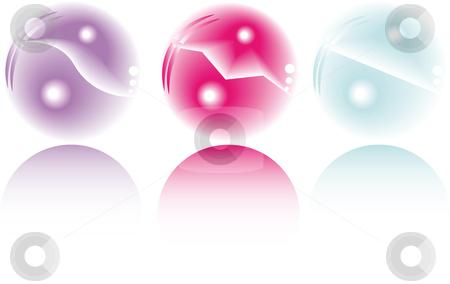 Three pastel fantasy spheres stock vector clipart, Three pastel colored fantasy spheres with reflection by Karin Claus
