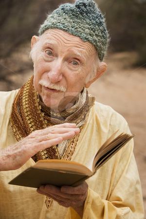 Guru in the desert stock photo, Wise man preaching in the high desert by Scott Griessel