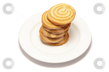 Shortbread Tower stock photo, 6 shortbreads biscuits/cookies stacked on a white plate by Helen Shorey