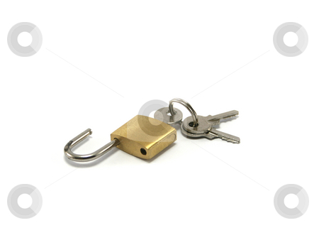 Open Padlock with keys stock photo, Open padlock with three keys. Small sized lock often used for suitcases by Helen Shorey
