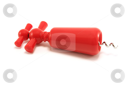 Red Plastic Corkscrew stock photo, Red plastic corkscrew by Helen Shorey