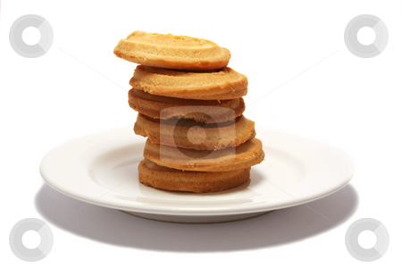 Shortbread Tower 3 stock photo, 6 shortbread biscuits stacked on a white plate by Helen Shorey