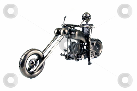 Biker stock photo, Motorcycle rider figurine made of welded  nuts and bolts by Jack Schiffer