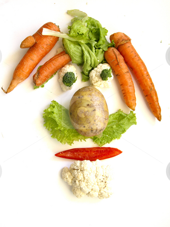 Vegetable face stock photo, A face made of vegetables by Lars Kastilan