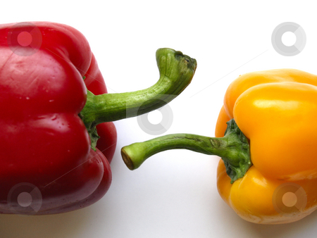 Peppers stock photo, Two peppers, a yellow and a red by Lars Kastilan
