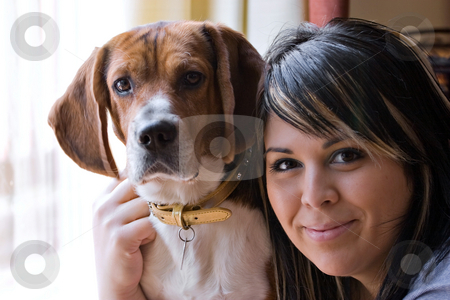 Woman And Her Dog stock photo, A pretty young woman posing with her beagle pup. Shallow depth of field. by Todd Arena