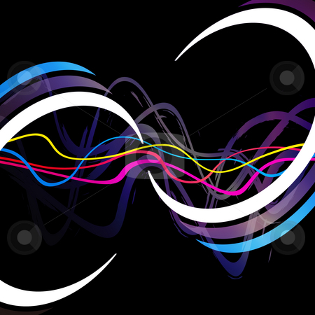 Funky Waveforms stock photo, Abstract layout with wavy lines and circular rings in the form of an infinity symbol. by Todd Arena