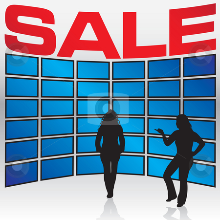 Electronics Store Sale stock photo, A few woman stand in front of a wall of TV sets during a store sale. by Todd Arena