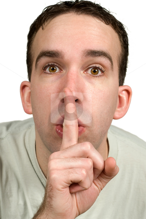 Be Quiet stock photo, Closeup view of a man holding his finger to his lips expressing that he wants quiet, isolated against a white background by Richard Nelson