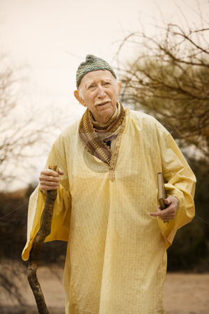 Guru in the desert stock photo, Wise man traveling in the high desert by Scott Griessel