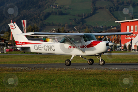 Cessna lining up at Zell stock photo, Cessna 152 lining up in Zell (LOWZ) by Alexander Gerzabek