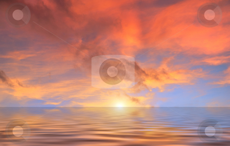 Red Clouds Sunset Above Water stock photo, Red clouds sunset reflecintg in water. by Denis Radovanovic
