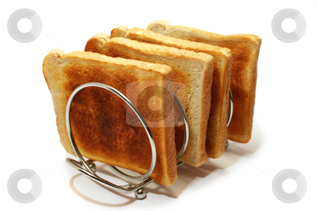 Toast Rack and Toast stock photo, Four slices of white toast cooling on a stainless steel toast rack by Helen Shorey