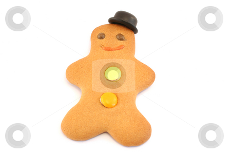 Jaunty Hat stock photo, Gingerbread man with a bowler hat set at a jaunty angle. Focus is on face and hat by Helen Shorey