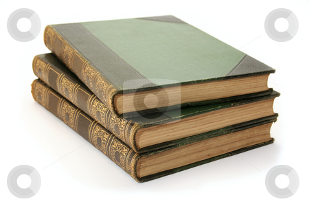 Three Antique Books stock photo, Three antique hard cover books - part of a childrens encyclopedia set from the 1900's. by Helen Shorey