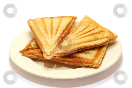 Toasted Cheese Sandwiches stock photo, Cheese toasties from a sandwich maker by Helen Shorey