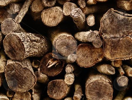 Big pile of wood logs stock photo, Closeup of pile of chopped wood logs, for backgrounds by Vladimir Koletic